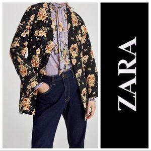 Zara Basic floral print puffer jacket